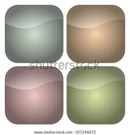 A set of blank rounded square icons with stripey backgrounds in retro pastel hues of blue, peach, pink and green. - stock vector