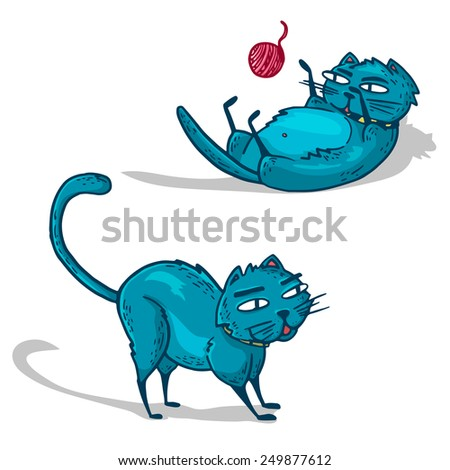A set of blue cartoon cats. Two cats play. Vector. - stock vector