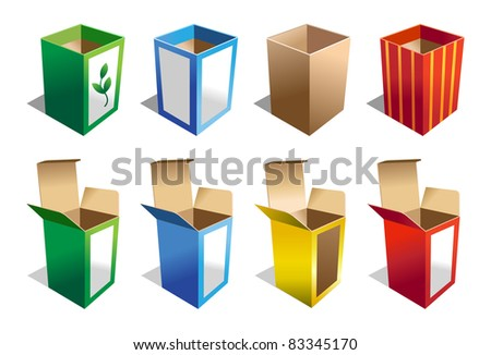 A set of 8 Boxes in different colors - stock vector