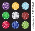 A set of brilliant cut gems on black background. EPS10 vector format. - stock photo