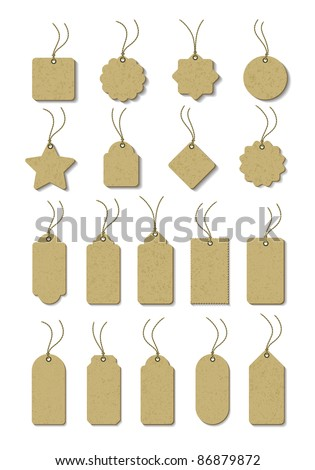A set of brown tag on  cord - stock vector