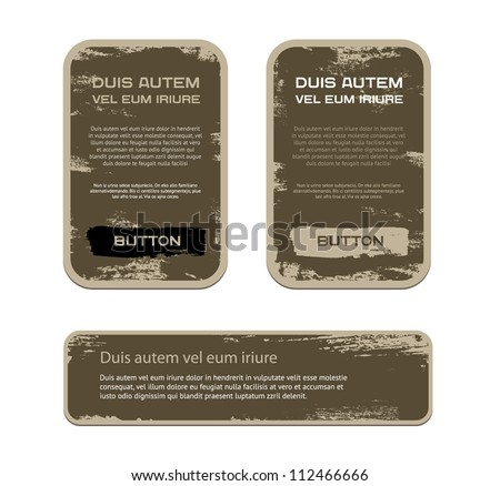 A set of brown vector vintage military style badges with grunge weathered paint background - stock vector