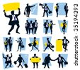 A set of business icons - people silhouettes - stock