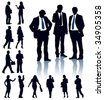 A set of business silhouettes. Vector illustration. - stock photo