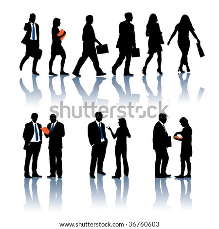 A set of business silhouettes. Vector illustration. - stock vector