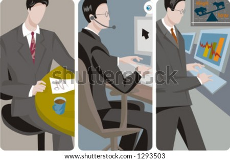 A set of 3 businessmen vector illustrations. 1) A businessman reading a document and drinking coffee. 2) A businessman making a video conference. 3) A businessman working with a computer. - stock vector
