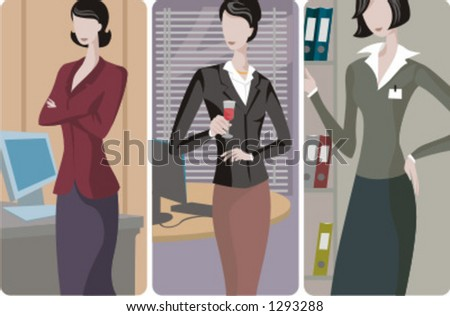 A set of 3 businesswomen vector illustrations. 1) A businesswoman working with a computer. 2) A businesswoman drinking a wine in the office. 3) A businesswoman searching for a folder. - stock vector