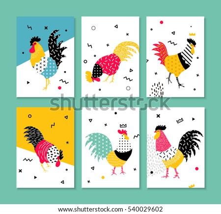 A set of cards for the holidays with a rooster in the style of the 90s. Illustration with bright elements Memphis and geometric shapes. Rooster symbol 2017. Set 1.