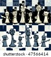 A set of cartoon chess pieces - stock photo