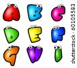 A set of cartoon font type, letter A to I - stock vector