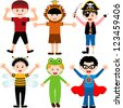 A set of cartoon male kids, young boys in cute costumes - stock photo