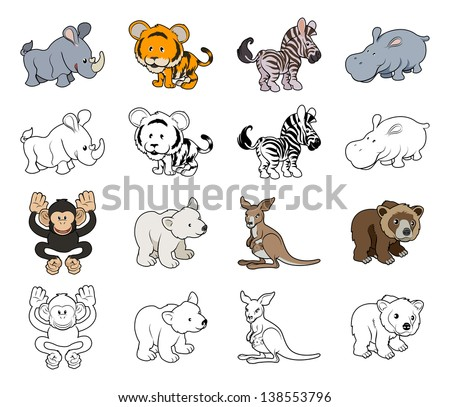 A set of cartoon wild animal illustrations. Color and black an white outline versions. - stock vector