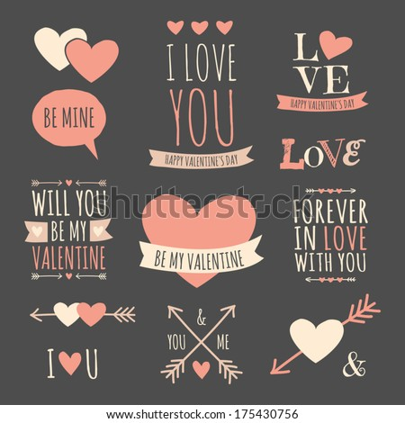 A set of chalkboard style design elements for Valentine's Day, wedding or engagement. - stock vector