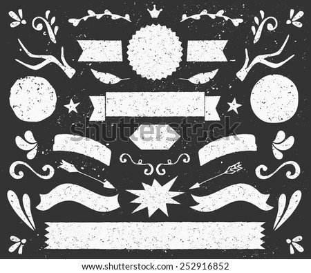 A set of chalkboard style design elements. Hand drawn decorative elements and embellishments. Banners, ribbons, swirls, labels and other retro style graphics. - stock vector