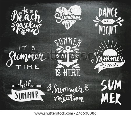 A set of chalkboard style typographic summer designs. Hand drawn calligraphic design templates. Summer season logos, posters, t-shirt, flyer, apparel designs. - stock vector