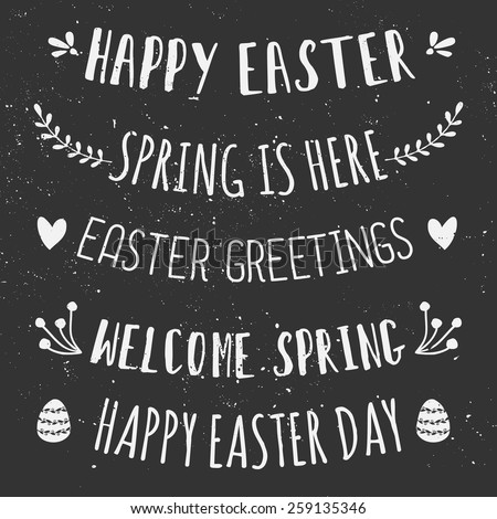 A set of chalkboard typographic designs for Easter Day. - stock vector