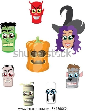 A set of characters in Halloween, heads - stock vector