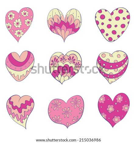 A set of cheerful hearts