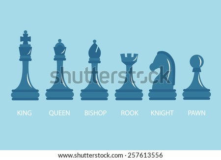 A set of chess pieces - pawn, rook, Bishop, knight, Queen, king, vector illustration.  - stock vector