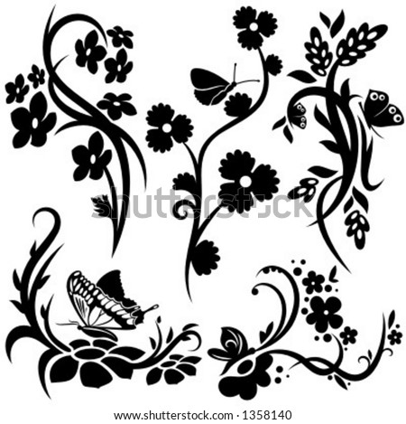 A set of 5 chinese floral designs. - stock vector