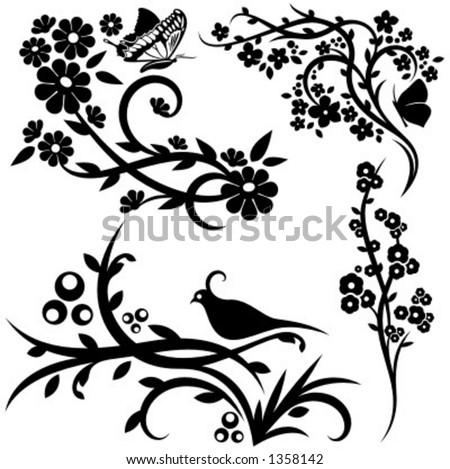 A set of 4 chinese floral designs. - stock vector