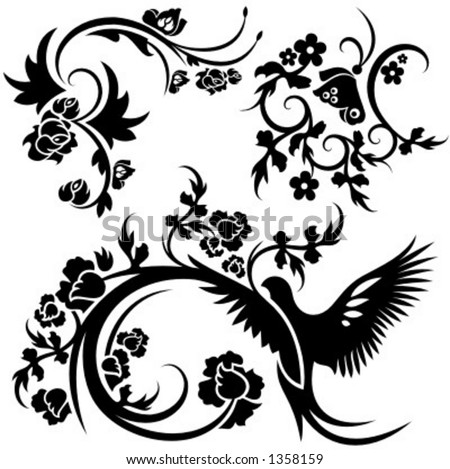 A set of 3 chinese floral designs. - stock vector