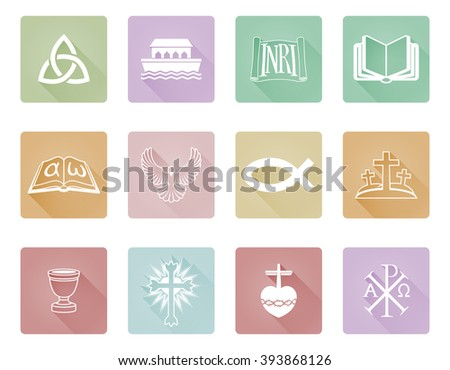 A set of Christian icons and symbols including Chi Rho,  alpha omega fish and cross - stock vector