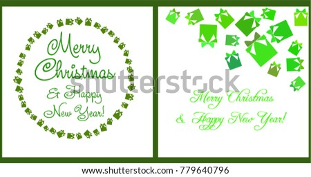 A set of Christmas and New Year greeting cards, gift box in green tones. Vector illustration.