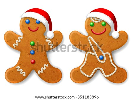 A set of Christmas gingerbread man in a Santa hat, decorated with icing, isolated on white - stock vector