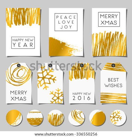 A set of Christmas greeting cards, gift tags and round stickers/tags/cake toppers. Abstract scribbles, brush strokes and textures and traditional Christmas messages. - stock vector