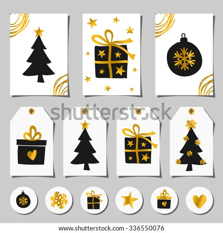 A set of Christmas greeting cards, gift tags and round stickers/tags/cake toppers. Traditional Christmas design elements in black, white and gold.  - stock vector