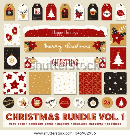 A set of Christmas printables - gift tags, greeting cards, wrapping paper and stickers in red, black, white and gold. - stock vector