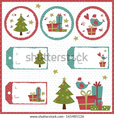 A set of Christmas vintage tags - stock vector