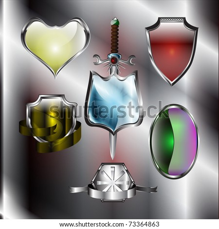 A set of chrome metallic mediavel shields with sword