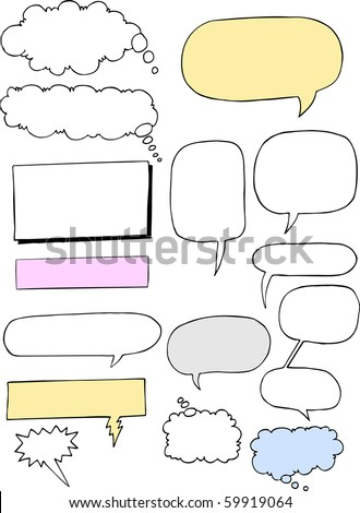 A set of 15 classic style comic word clouds for voice, thought, mechanical and narration uses. - stock vector