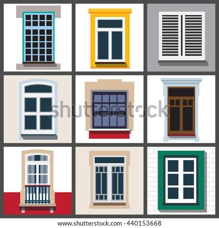 Set classic windows buildings exterior vector for Window design vector