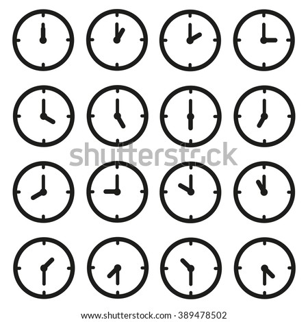 A set of clocks for every hour and some thirty minutes. - stock vector