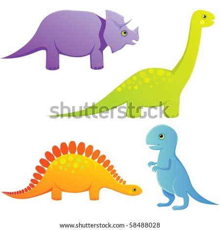 A set of CMYK illustrations of cartoon baby dinosaurs.