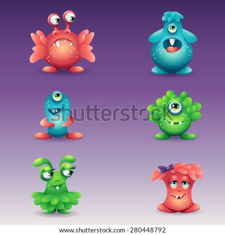 A set of colored cartoon monsters, different emotions - stock vector