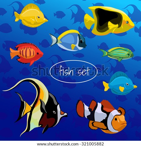 A set of colored fish on a blue background - stock vector