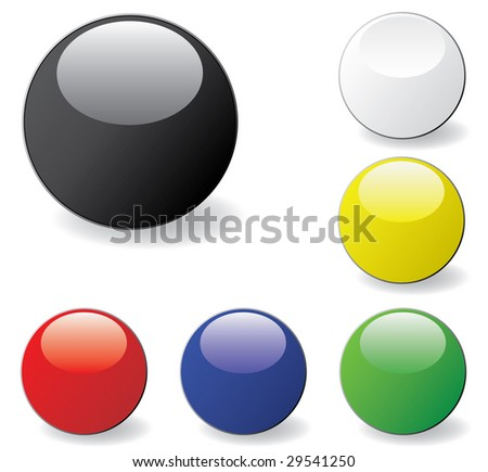 A set of colored glossy web buttons. Vector - stock vector