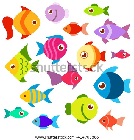 A set of colorful aquarium fish. Fish flat style vector illustration. Fish icons isolated on white background