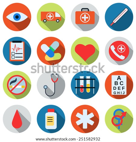 A set of colorful medical icons. Flat design style web elements collection.
