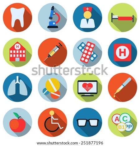 A set of colorful medical icons. Flat design style web elements collection. - stock vector
