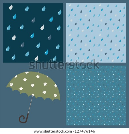 A set of 3 colorful patterns with beautiful raindrops (+ umbrella) - stock vector