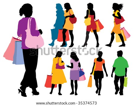 A set of colorful silhouettes of shopping people.
