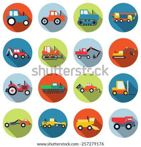 A set of colorful special purpose cars and machinery vector icons. Flat design style elements collection. - stock vector