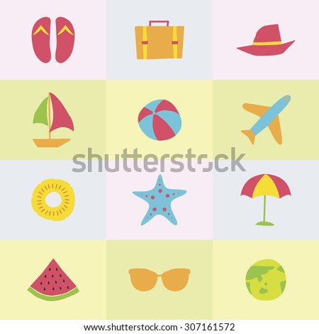 A set of colorful vector icons for summer vacation, background, pattern. pine apple, starfish, beach sandal, travel bag, hat, boat, umbrella, water melon, sunglasses, earth, beach ball, air plane.