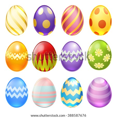 A set of colourful decorated chocolate cartoon Easter Eggs for use in Easter designs