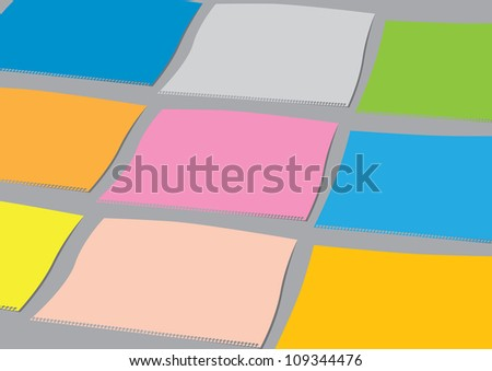 A set of colourful vector paper sheets